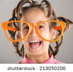 Portrait Of Funny Cute Little...