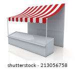 3d render stall and red   white ... | Shutterstock . vector #213056758