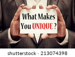 what makes you unique  | Shutterstock . vector #213074398