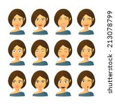 isolated set of female avatar... | Shutterstock .eps vector #213078799