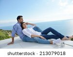 romantic happy young couple... | Shutterstock . vector #213079018