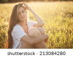 young beautiful girl in the... | Shutterstock . vector #213084280