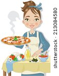 woman cooking a pizza | Shutterstock .eps vector #213084580
