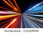 fast moving traffic light... | Shutterstock . vector #213109030