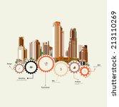 set of vector skyscrapers with... | Shutterstock .eps vector #213110269