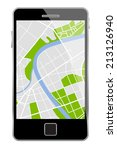smartphone with map isolated on ... | Shutterstock . vector #213126940