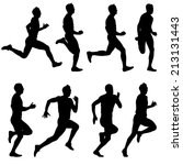set of silhouettes. runners on... | Shutterstock . vector #213131443