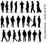 black silhouettes of beautiful... | Shutterstock . vector #213131470