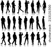 black silhouettes of beautiful... | Shutterstock . vector #213131500