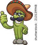 mexican cartoon cactus. vector...