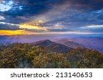 Blue Ridge Mountains in North Georgia, USA in the autumn season at sunset.