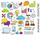 colorful hand drawn business... | Shutterstock .eps vector #213141760