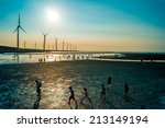 sillouette of wind turbine... | Shutterstock . vector #213149194
