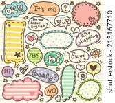 Stock vector set of cute thought bubbles 213167710