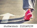training on a stadium at sunset ... | Shutterstock . vector #213169159