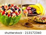 bowl of fruit salad   focus in... | Shutterstock . vector #213172360