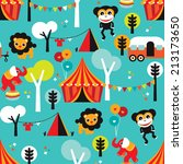 seamless colorful kids circus... | Shutterstock .eps vector #213173650