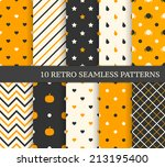 10 retro different seamless... | Shutterstock .eps vector #213195400