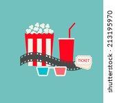 Постер, плакат: Popcorn soda with straw