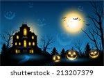 horizontal halloween haunted...   Shutterstock .eps vector #213207379
