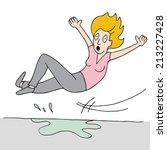 an image of a woman who slips... | Shutterstock .eps vector #213227428