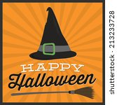 happy halloween witches hat and ... | Shutterstock .eps vector #213233728
