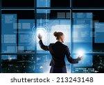 rear view of businesswoman... | Shutterstock . vector #213243148