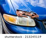 car hood with a hole from rust... | Shutterstock . vector #213245119