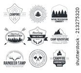set of vintage camping and... | Shutterstock .eps vector #213275320
