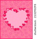 frame of hearts on a pink... | Shutterstock .eps vector #213293293