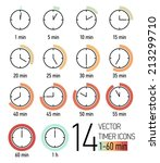 Vector Set Of Timer Icons With...
