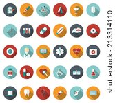 set of flat medical icons.... | Shutterstock . vector #213314110