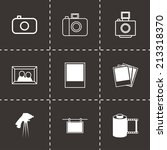 vector black photo icons set on ... | Shutterstock .eps vector #213318370