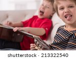 two caucasian boys playing...   Shutterstock . vector #213322540