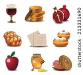jewish holiday food icons eps...   Shutterstock .eps vector #213331690