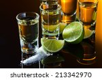tequila   salt and lime on a... | Shutterstock . vector #213342970