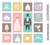 wedding icons set. love flat...   Shutterstock .eps vector #213343504