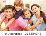 portrait of happy family in... | Shutterstock . vector #213354343