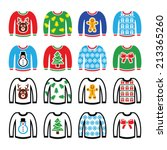 ugly christmas sweater on... | Shutterstock .eps vector #213365260