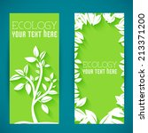flat eco leaf banners concept.... | Shutterstock .eps vector #213371200