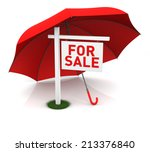 For Sale Sign With Red Umbrell...