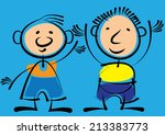 two boys isolated on blue... | Shutterstock . vector #213383773