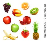 fruits  set of vector... | Shutterstock .eps vector #213393253