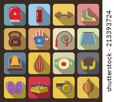 Box fight icons set with gloves belt gong isolated vector illustration