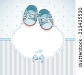 baby boy shower card. arrival... | Shutterstock .eps vector #213425530
