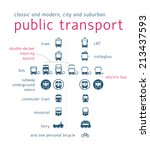 public transport icon set  flat ... | Shutterstock .eps vector #213437593