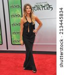 "Small photo of LOS ANGELES, CA - AUGUST 3, 2014: Moxie Raia at the premiere of ""Teenage Mutant Ninja Turtles"" at the Regency Village Theatre, Westwood."