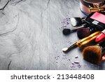 various makeup products on dark ... | Shutterstock . vector #213448408