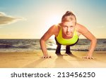 fitness young woman doing push... | Shutterstock . vector #213456250
