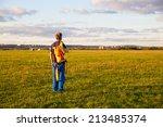 Man With  Knapsack Parachute...
